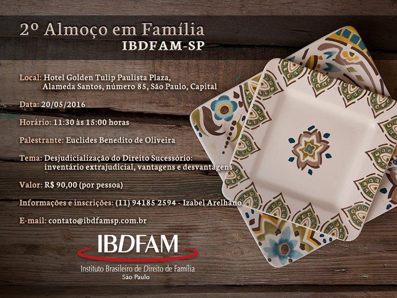 Convite para o 2º Almoço em Família – com palestra do Dr. Euclides de Oliveira